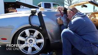 Luxury Car Dent Repair, (Video) Glue pull paintless repair technique demonstrated on Bentley, Napa CA